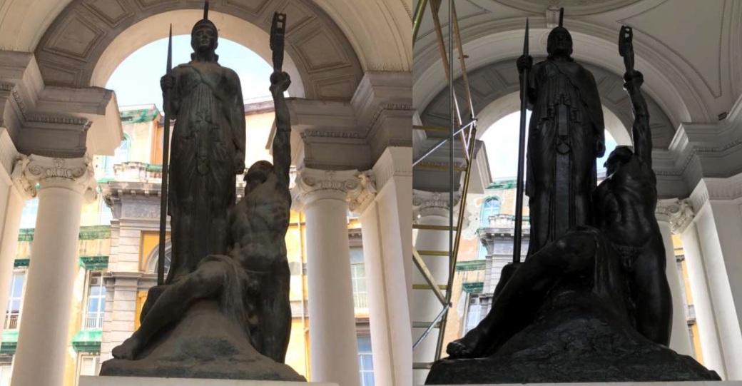statua minerva università napoli federico II tekna restauri restauro conservativo giugliano in campania