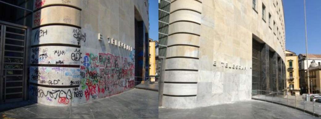 Restauro e rimozione murales Poste Italiane palazzo Matteotti Napoli Tekna Restauri