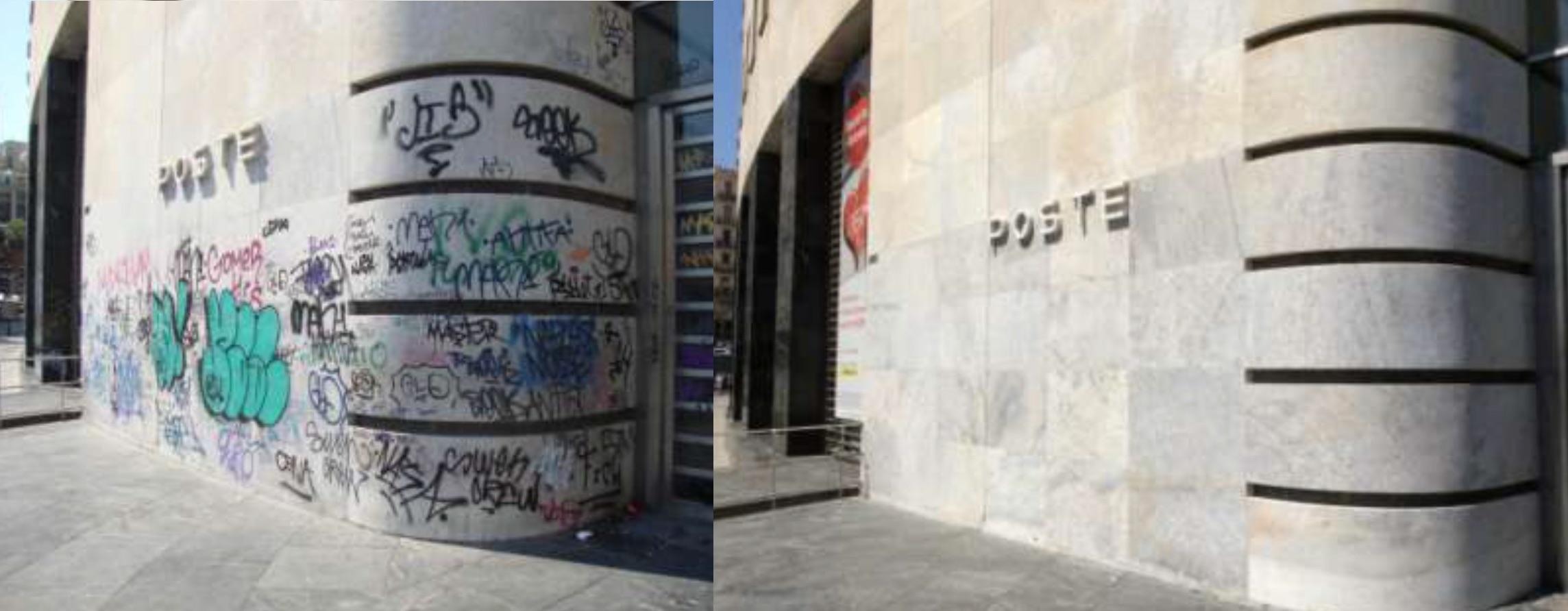Sede centrale Poste Italiane restauro conservativo rimozione graffiti